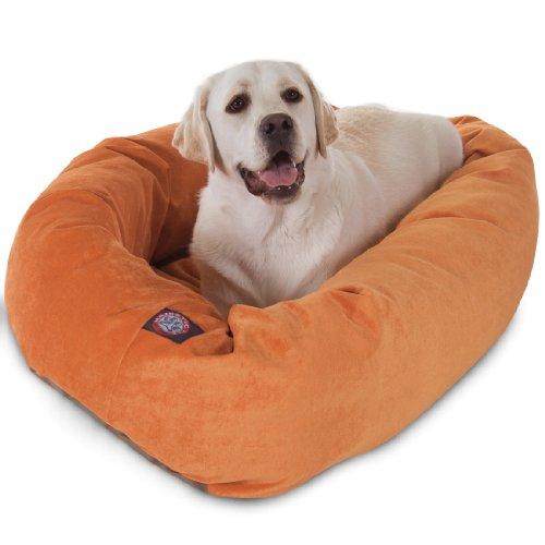 40 inch Orange Villa Collection Micro Velvet Bagel Dog Bed B