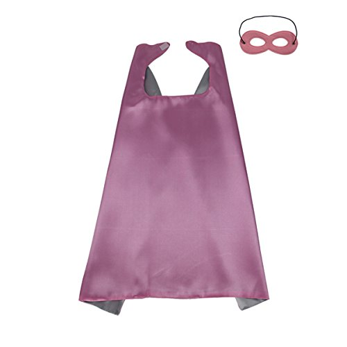 KOSTING 140CM X 90CM Halloween Costume Reversible Kids, Adult, Men, Women DIY Superhero Cape with Mask, Pink&Silver ()