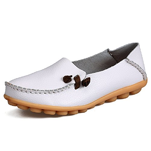 Driving Labato Leather Women's Shoes Flat Slippers Loafers On Slip Casual 190white Urqrnx0ECw