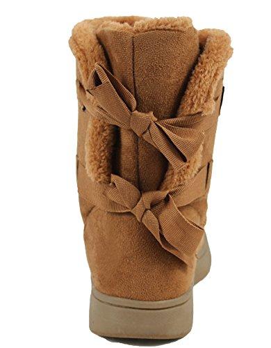 Bambus Kvinners Faux Suede Shearling Fuskepels Tilbake Bow Tie Komfort Ankelen Bootie Naturlig