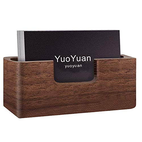 s Card Holder - Professional Brown Walnut Card Display Case for Desk Desktop Single Compartment Wooden Name Card Stand for Tables Organizer Index Card Filing ()
