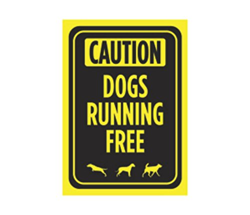 Caution Dogs Running Free Print Bright Yellow Black Poster Park Yard Outdoor Notice Sign