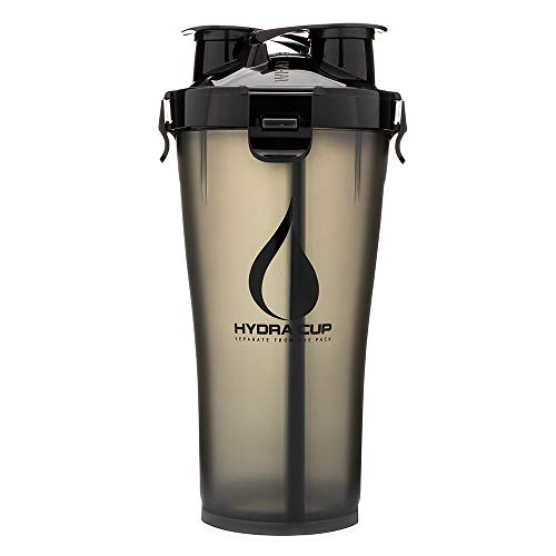 Hydra Cup 3.0-36oz High Performance Dual Shaker Bottle, Patented PRE + Protein Shaker Cup, Leak Proof, Awesome Colors, Save Time & Be Prepared, Stealth Black