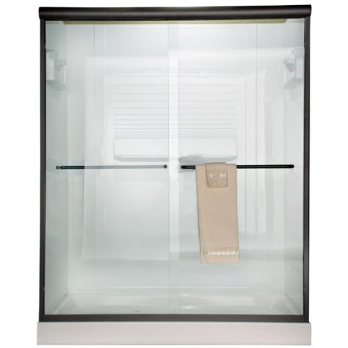 00370400.224 Euro Frameless By-Pass Shower Doors with Clear Glass, Oil Rubbed Bronze ()