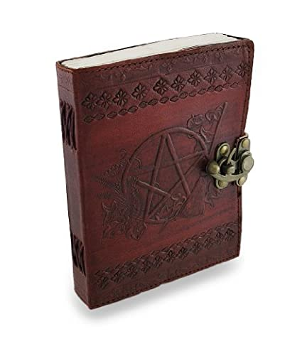 5 X 7 In. Pentacle Embossed Brass Clasp Leather Journal 120 Leaf