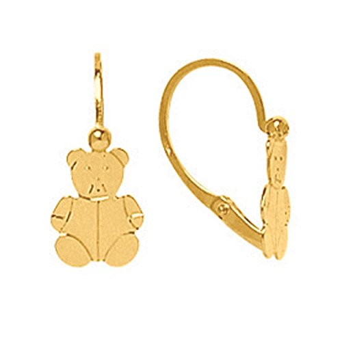 So Chic Jewels - 18k Yellow Gold - Teddy Bear Leverback Dangle (Cudly Bear)