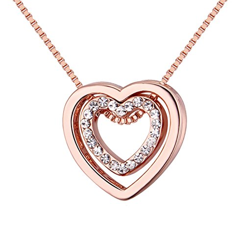 Double Love Heart Necklace - Crystal From Swarovski Rose Gold Plated Pendant Necklace For Women Mom Gift (Swarovski Gold Plated Charms)