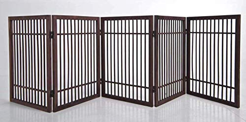 5 Panel Solid Wood Folding Pet Dog Gate Strong and Durable with 2 Way ()