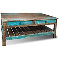 Crafters and Weavers Farmhouse Rustic Solid Wood Coffee Table with drawers