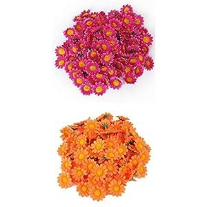 Fenteer 200pcs Artificial Gerbera Daisy Flower Heads for Wedding Party Decor Craft 10