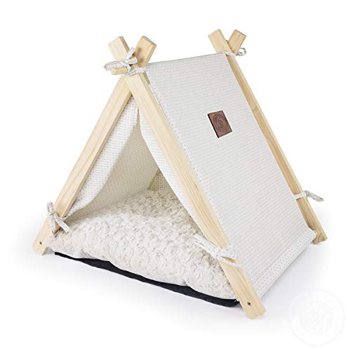 Pickle & Polly – Medium A-Frame Dog Bed for Dogs & Cats – Stylish, Soft, Cozy Dog House w/Thick Plush Pad, Durable…