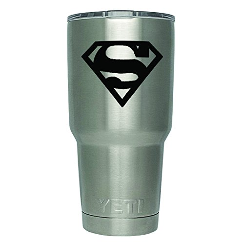 DD352 2-Pack Superman Inspired Decal Sticker (DECAL ONLY CUP NOT INCLUDED) | 3 Inches | Premium Quality Black Vinyl | Yeti RTIC Orca Ozark Trail Tumbler Decal
