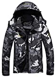 MOERDENG Men's Waterproof Ski Jacket Warm Winter Snow Coat Mountain Windbreaker Hooded Raincoat, Black Camo, Large