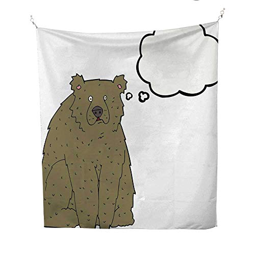 25 Home Decor Tye dye Tapestries Cartoon Funny Bear with Thought Bubble Greatful Dead Tapestries 70W x 84L ()