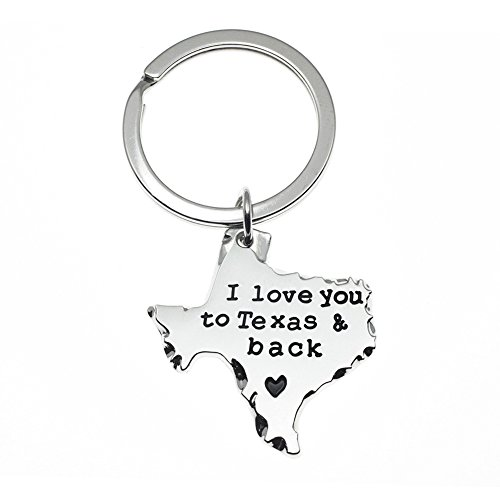 Ms.Clover Texas Sign I Love You to Texas and Back Keychain, Long Distance Relationship Gift- Going Away Gifts