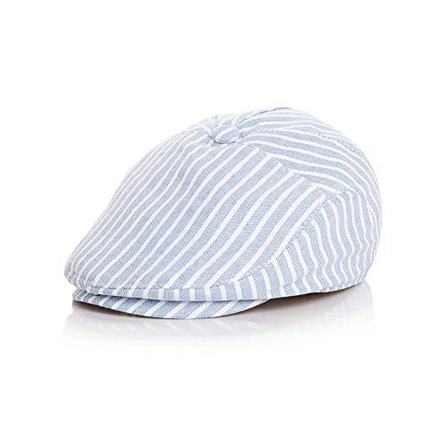 Simplee Kids Baby Boy Flat Scally Cap Boys Stripe Cotton Boy Newsboy Berets Baby Kids Driver Cap Hat for Summer (12-24) (Summer Drivers Caps)