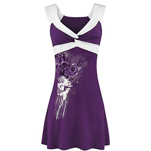 Sunhusing Women's Print Patchwork Sleeveless Vest Top Twist Knotted Wrapped Pleated Shirt Purple