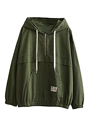 Romwe Women's Lightweight Kangaroo Pocket Anorak Sports Jacket Drawstring Hooded Zip up Windproof Windbreaker