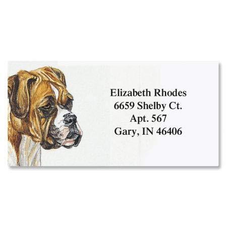 Boxer Border Personalized Return Address labels- Set of 144 1-1/8