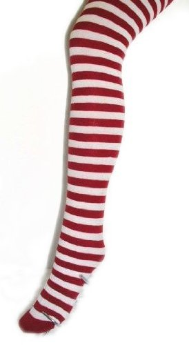 Tights Hosiery Stripe Sexy (Plus Size Fun Striped Opaque Tights (Various Colors) (Plus/Queen Size, Red/White))