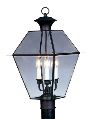 Livex Lighting 2384-04 Westover 3 Light Outdoor Black Finish Solid Brass Wall Lantern  with Clear Beveled ()
