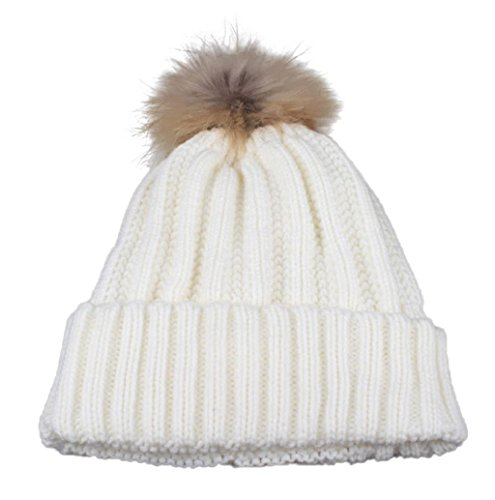 Mallcat Women Winter Crochet Fur Wool Knit Raccoon Warm Hat (White)