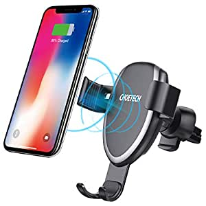 CHOETECH Wireless Car Charger, 7.5W Wireless Car Charging Mount Holder Compatible with iPhone X/ 8/8 Plus, 10W Fast Charging Samsung Galaxy Note 9 S8 S8 Plus S7 S7 Edge S6 Edge Plus