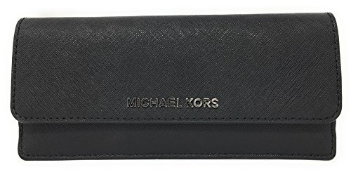 Michael Kors Jet Set Travel Flat Saffiano Leather Wallet (Black/Gold)