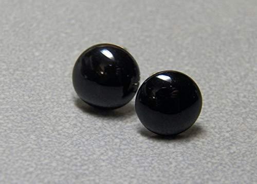 10mm Black Onyx Gemstone and Sterling Silver Post Earrings ()