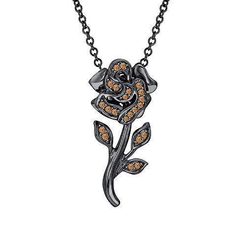 Beautiful Rose Flower Smoky Quartz Pendant Necklace 18k Black Gold Over 925 Sterling Silver for Girl's ()