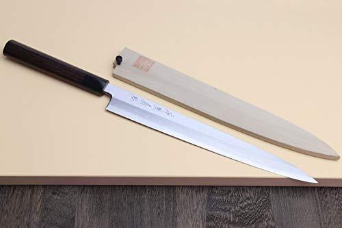 Yoshihiro Shiroko High Carbon Steel Kasumi Yanagi Rosewood Handle Sushi Sashimi Chef Knife (10.5'' (270mm)) by Yoshihiro (Image #1)