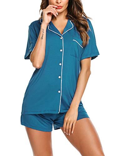 Ekouaer Women's Pajama Set Soft Cotton Top and Buttom Sleepwear(Blue Green,XX-Large)