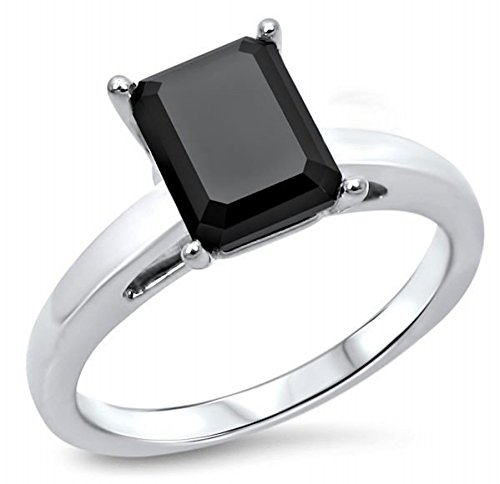 2 Ct Diamond Solitaire Engagement Ring - 2 CT Black Emerald Cut Diamond Solitaire Engagement Ring 10K White Gold