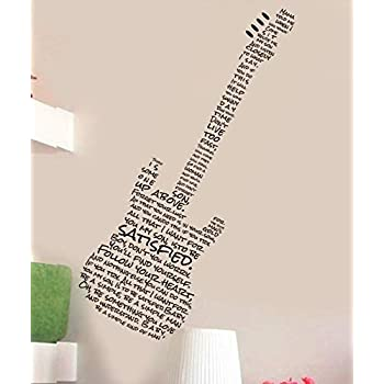 bathta Vinyl Removable Wall Stickers Mural Decal Simple Man Lyrics in Guitar