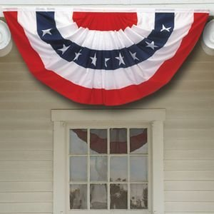 3x6 Ft Windstrong® US American Flag Bunting Half Fan Fully Pleated Poly/Cotton 100% MADE IN THE USA SATISFACTION GUARANTEED