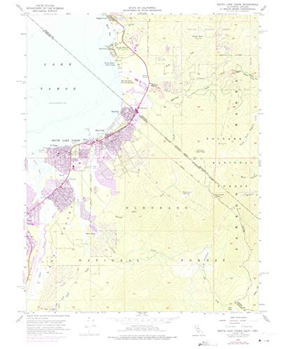 YellowMaps South Lake Tahoe CA topo map, 1:24000 Scale, 7.5 X 7.5 Minute, Historical, 1955, Updated 1975, 26.8 x 22 in - Tyvek