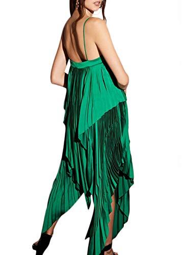 54776b2b633 Ohvera Women s Chiffon Spaghetti Strap Deep V Neck High Slit Beach Maxi  Long Dress