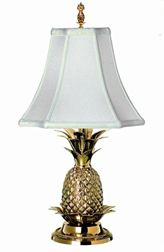 LAMPS - WILLIAMSBURG PINEAPPLE TABLE LAMP - POLISHED BRASS WITH OFF WHITE SHADE by KensingtonRow Home Collection