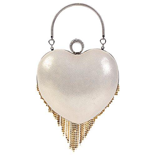 Damara Brillante Mujeres Caja Dura Bolso De Hombro De Forma De Corazón Con Borlas De Cristal,Plateado Dorado