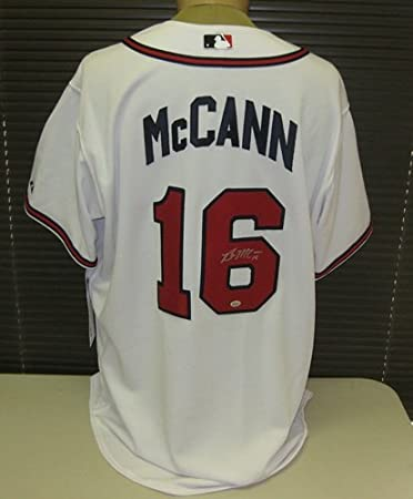 d2c59e0d6 Image Unavailable. Image not available for. Color  Brian McCann Signed  Authentic White Braves Jersey