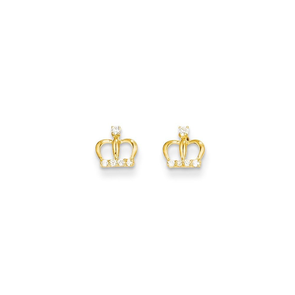 ICE CARATS 14k Yellow Gold Cubic Zirconia Cz Crown Post Stud Earrings Fine Jewelry Gift Set For Women Heart by ICE CARATS (Image #3)