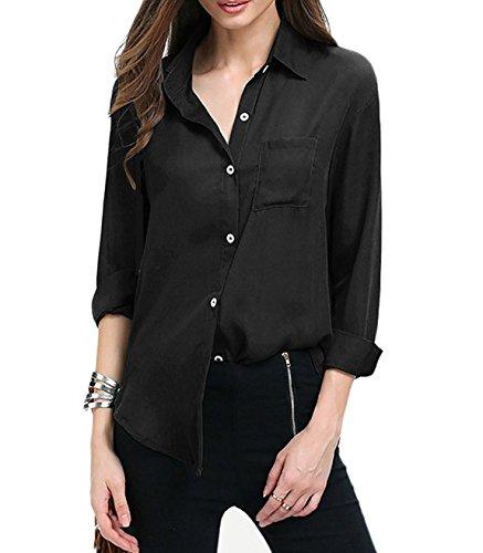 Haut Manches Tops Casual Blouse Chemisier Shirts Noir Mousseline Chemise Femme Longue Aswinfon Boutons de Cardigan Blouse SqwTOpB