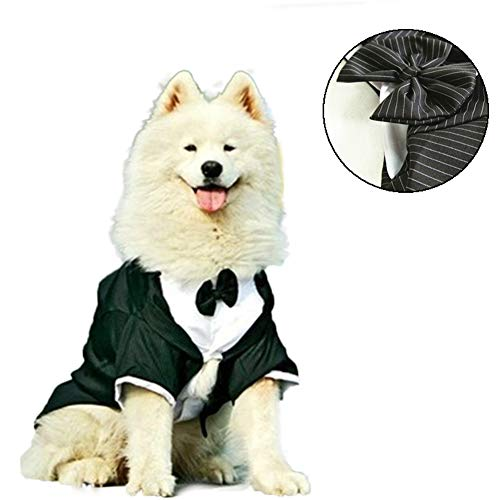 NACOCO Dog Striped Suit with Bow Tie, Stylish Tuxedo for Wedding, Parties and Halloween, Formal Party Apparel/Costume for Large Dogs, Black (3XL)]()