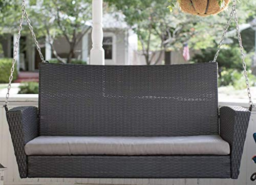 Brown Resin Wicker Outdoor Porch Swing With Tan Cushion Patio Garden Furniture