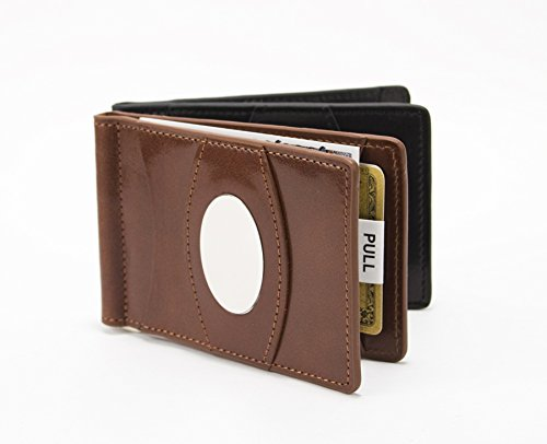 Storus Razor Wallet-Razor Thin Fine Italian Leather Wallet With Innovative Metal Cash Clamp Inside And Metal Engravable Plate On Outside-Stores Up To 30 Bills OR 20 Cards-Tobacco Brown Color (Mosaic Tobacco)