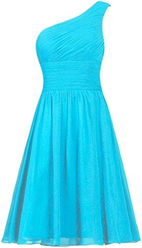 Short Gown Dress (ANTS Women's Chiffon One Shoulder Bridesmaid Dresses Short Evening Dress Size 4 US Turquoise)