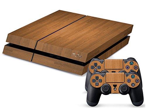 PlayStation 4 Designfolie Sticker Skin Set für Konsole + 2 Controller - Wood I
