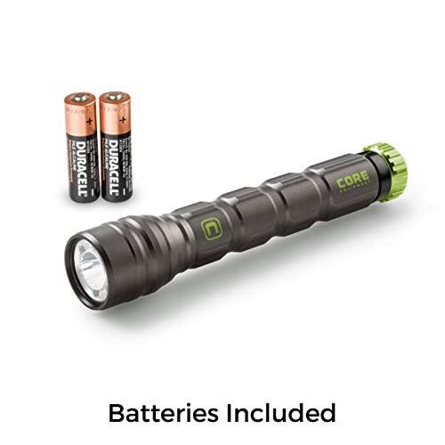 - CORE Flashlight, 275 Lumens, IPX4 Water-Resistant, Aerospace-Grade Aluminum Body, CREE LED, AA Batteries Included, Spot, Flood, and Red Light Modes for Camping, Hiking, and Hunting