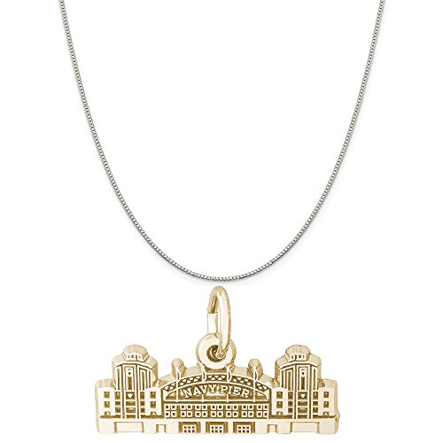 Rembrandt Charms Two-Tone Sterling Silver Navy Pier Charm on a Sterling Silver Box Chain Necklace, 16