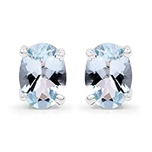 Johareez 1.50 cts Aquamarine .925 Sterling Silver Rhodium Plated Earrings for Women